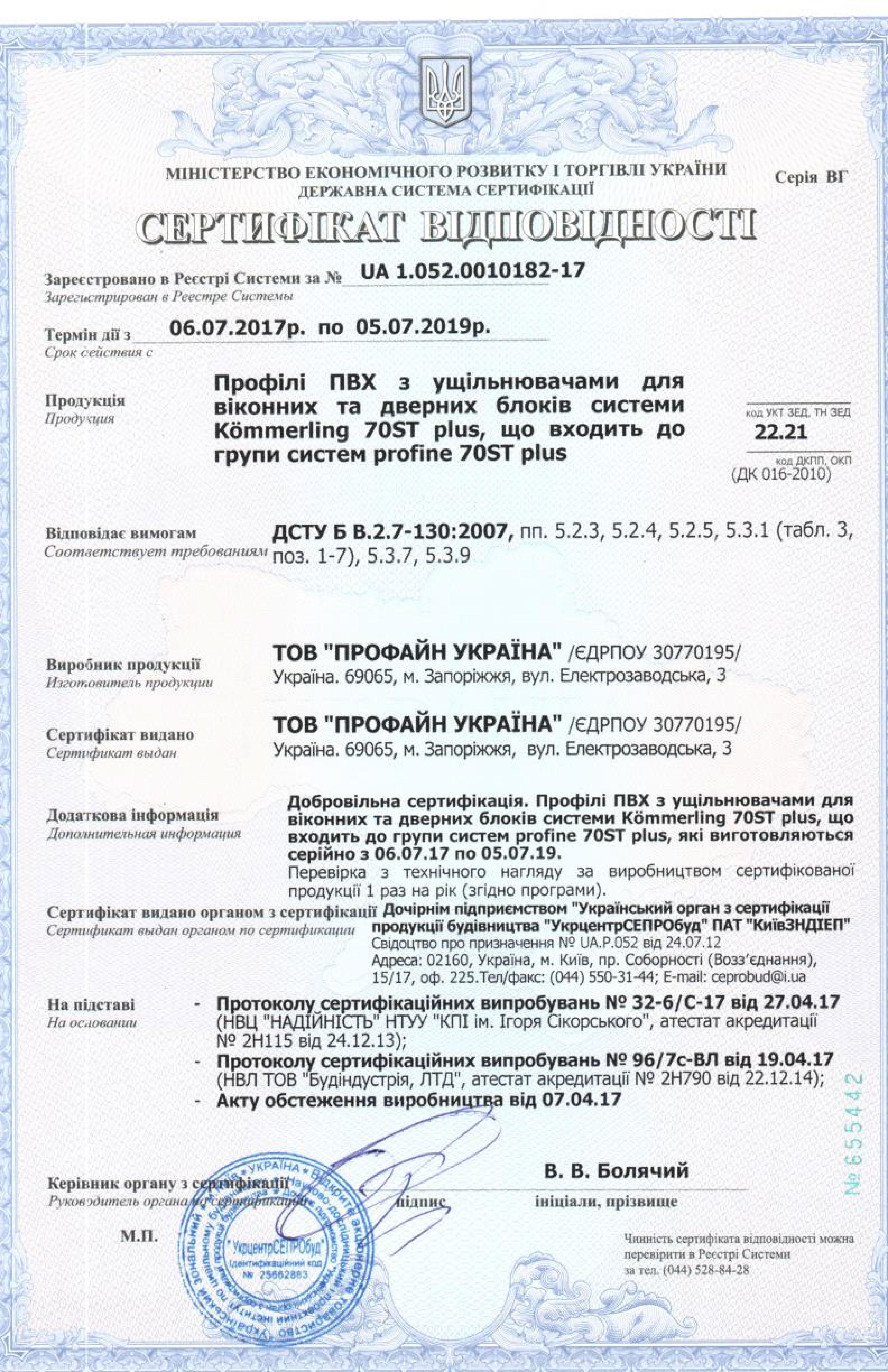 KOMMERLING870ST сертификат