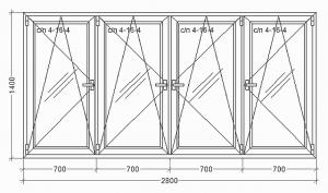 WDS Olimpia 2800x1400 24С/П 4 створки