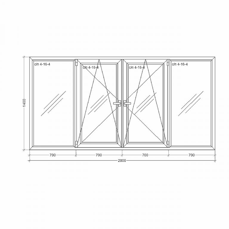Окно-Millenium-2800x1400x24x2