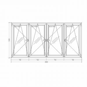 Окно-Millenium-2800x1400x24x4