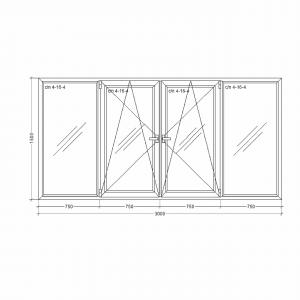 Окно-Millenium-3000x1500x24x2