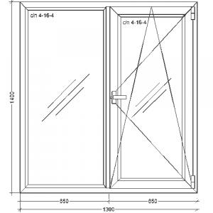 Недорогое окно 1300х1400